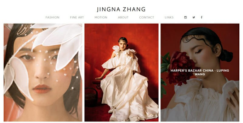 Jingna Zhang is a professional artist website example