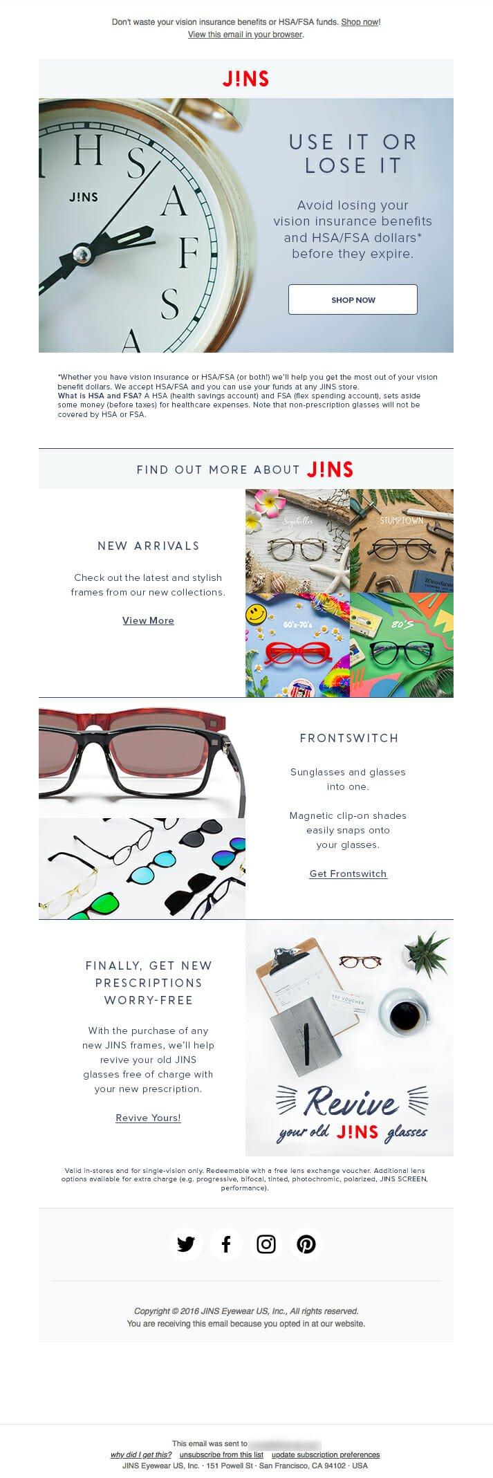 Jins Newsletter Example For Prescription Eyeglass Stores