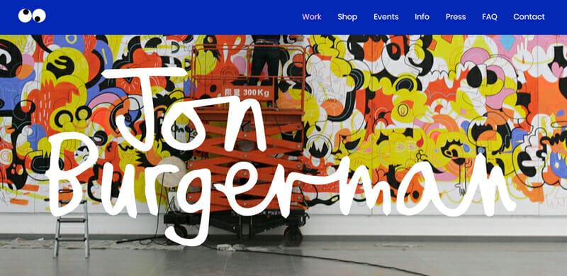 Jon Bugerman is a fun artist website example