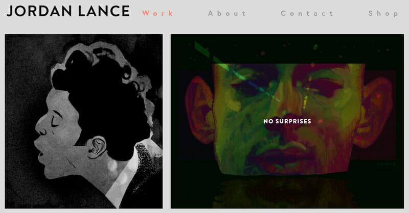 Jordan Lance is an interesting artist website example