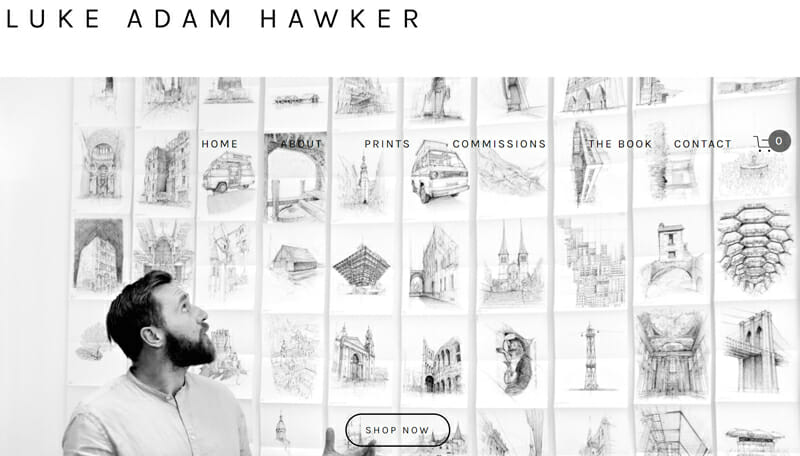 Luke Adam Hawker is a stunning artist website example