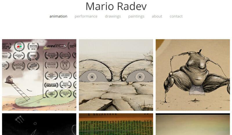 Mario Radev is a ravishing example of an artist website