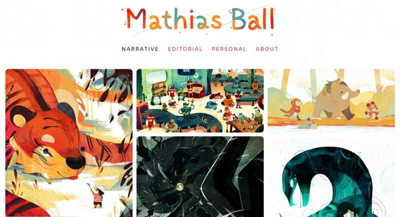 Mathias Ball is an elegant artist website example