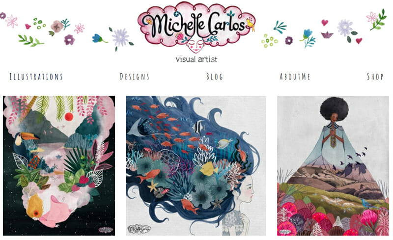 Michelle Carlos is a stunning example of an artist website