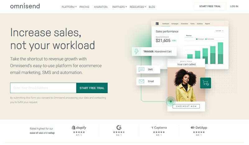 Omnisend - Increase sales, not your workload - platform for ecommerce, email marketing, sms and automation