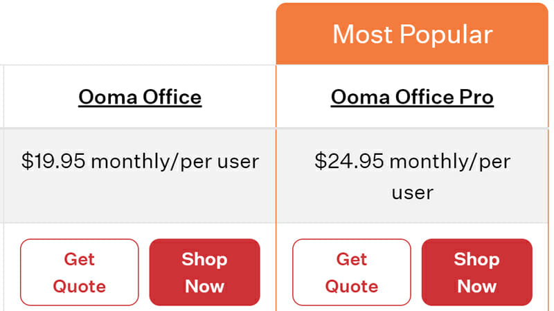 Ooma Business phone pricing plans