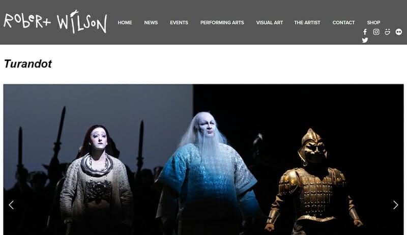 Robert Wilson is a wonderful example of an artist website