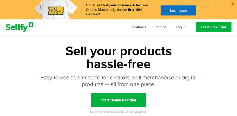 Sellfy eCommerce website builder for merchants wanting to sell physical as well as digital products