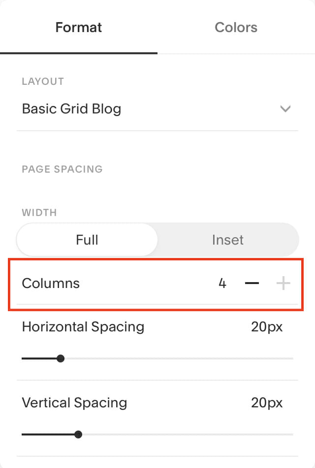 Squarespace additional columns elements feature