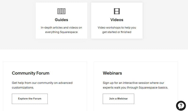 Squarespace help center displays a search option