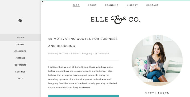 Squarespace's completely built in blogging features