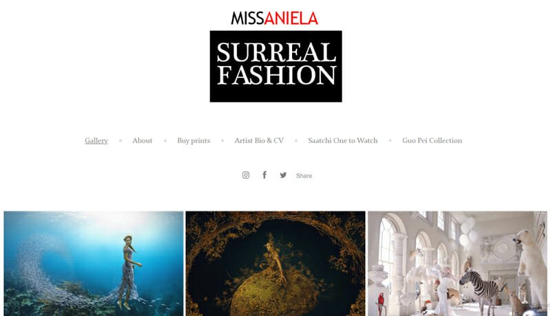 Surreal Fashion is an attractive example of an artist website