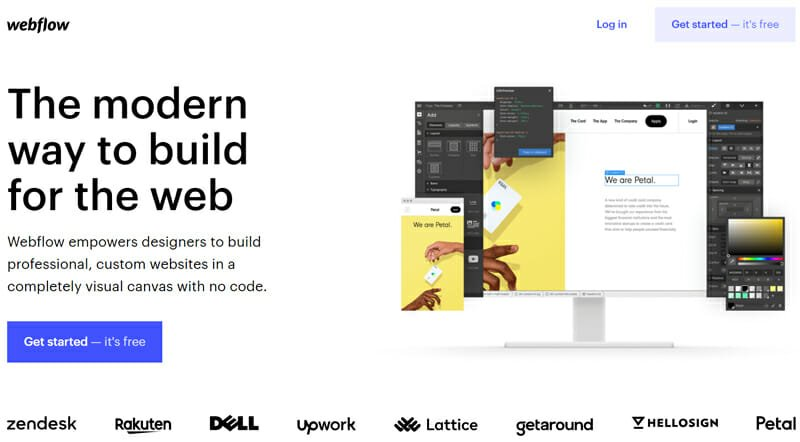 Webflow is a completely visual website building canvas with no code