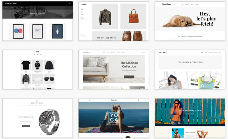 Weebly's Template selection
