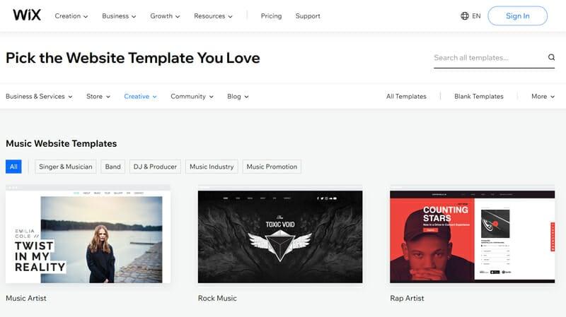 Wix Music templates