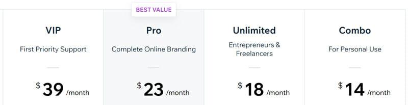 Wix Website Pricing Plan