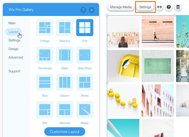 Wix Pro Gallery Custom layouts