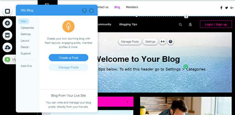 Wix Blogging Features
