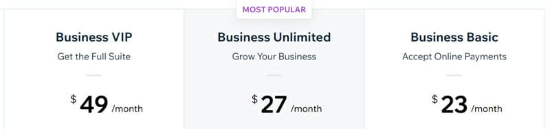Wix Business and eCommerce Pricing Plans