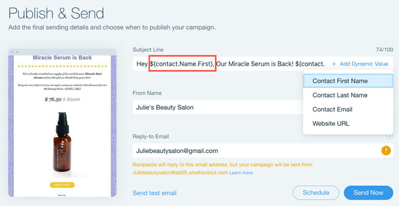 Wix email marketing features