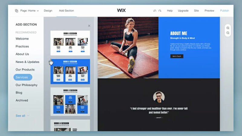 Wix industry specific templates features