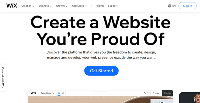 Wix is Highly customizable website builder