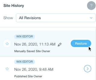 Wix's Site History Solution