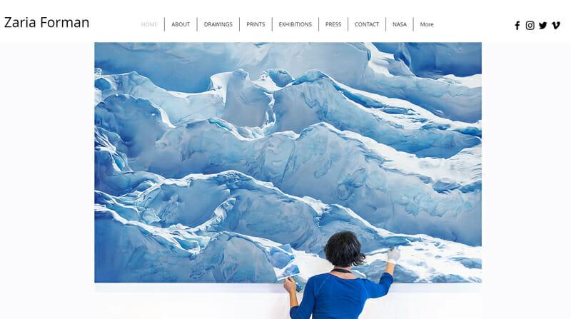 Zaria Forman is a pretty artist website example