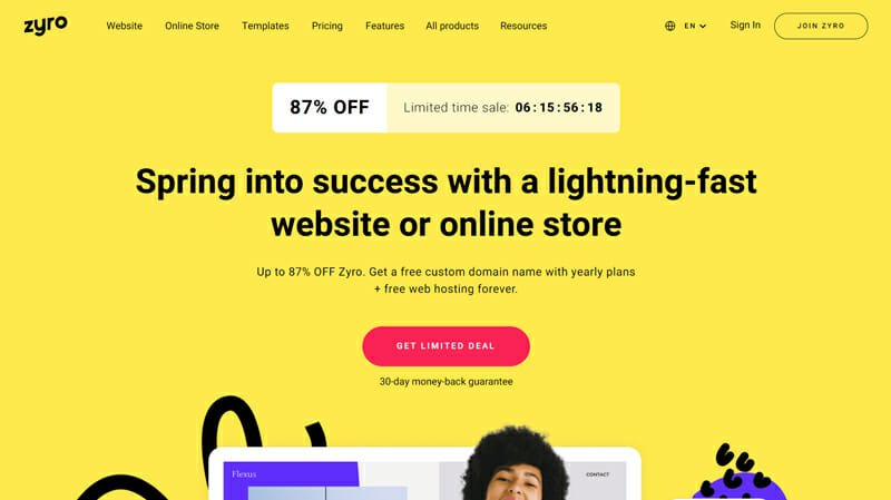 Zyro is a good option for small Ecommerce brands or Startup