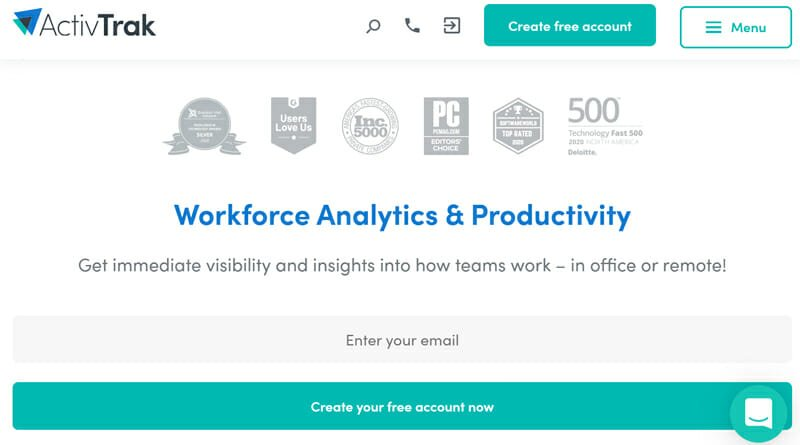 ActivTrak is the best Free Employee Monitoring Software