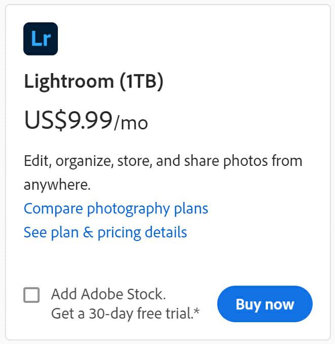 Adobe Lightroom Pricing Plan