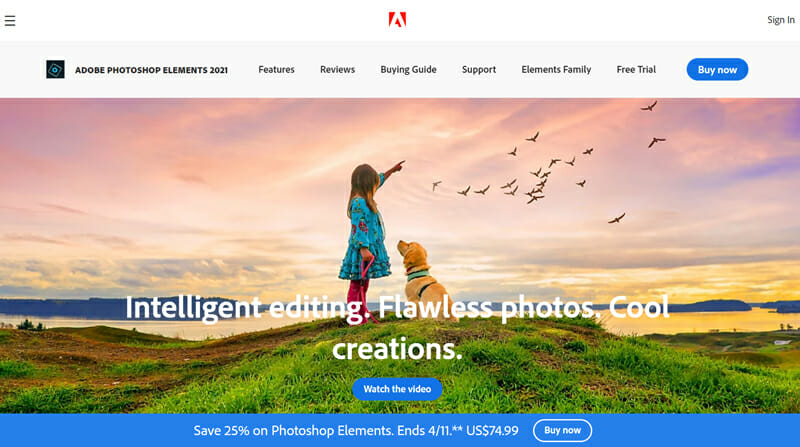 Adobe Photoshop Elements is an Image editing software focusing on extensive Image organisation options