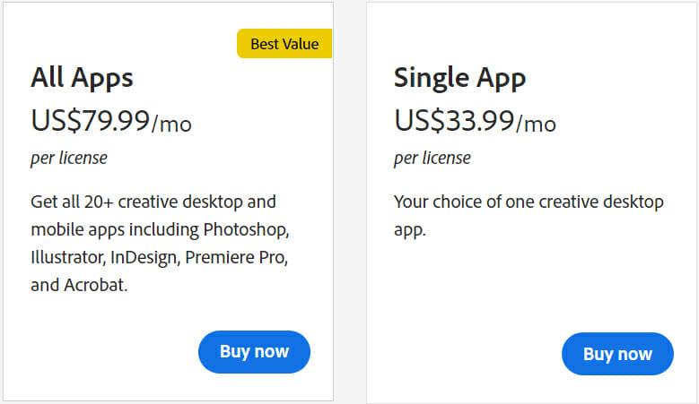 Adobe Photoshop Pricing Plan