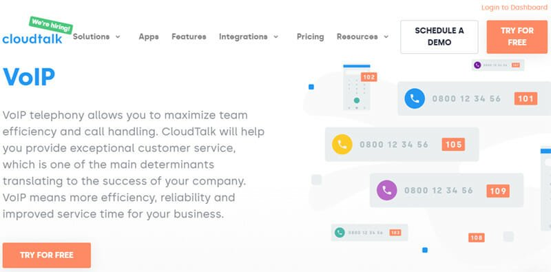 CloudTalk is the best business VoIP provider for businesses that receive high customer traffic