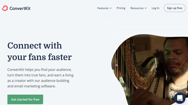ConvertKit is the best free email marketing services for content creators