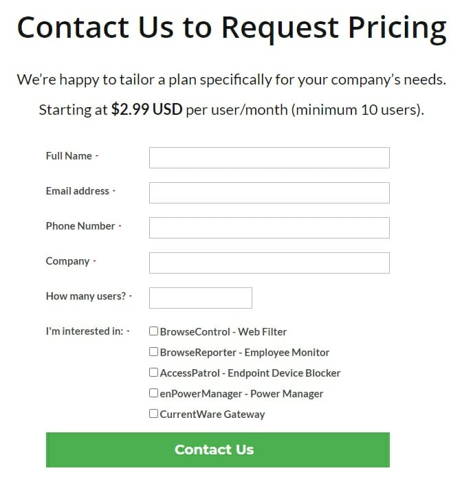 CurrentWare - Pricing - Contact form