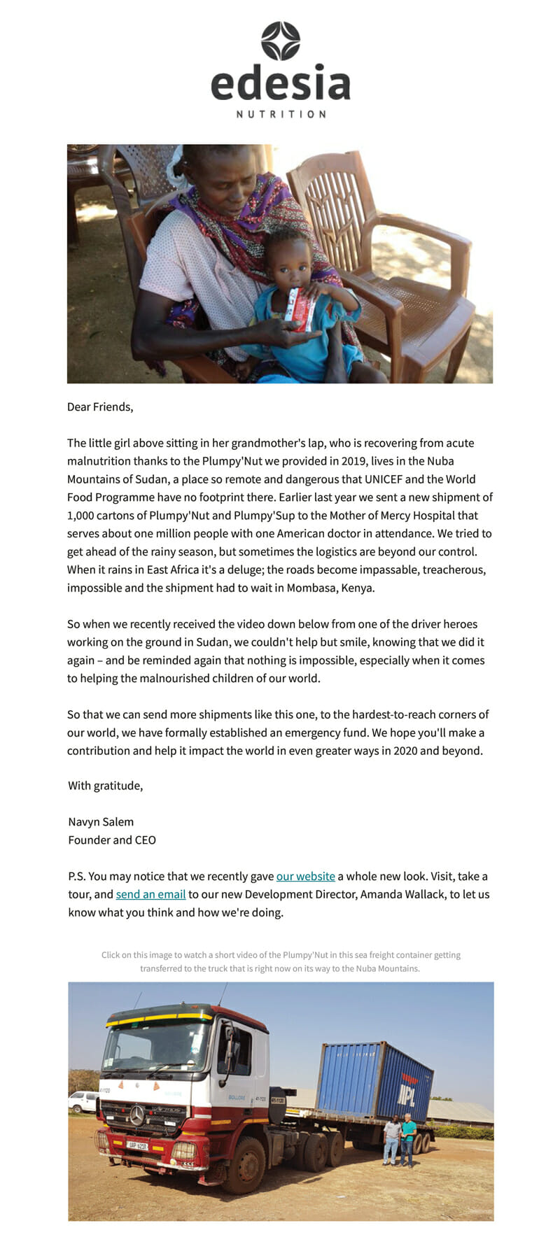 Edesia is an Email Newsletter Example For Charity Organisations
