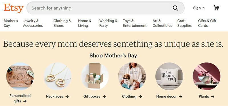 Etsy is a Marketplace Optimized for Transacting a Wide Range of art and Craft Products