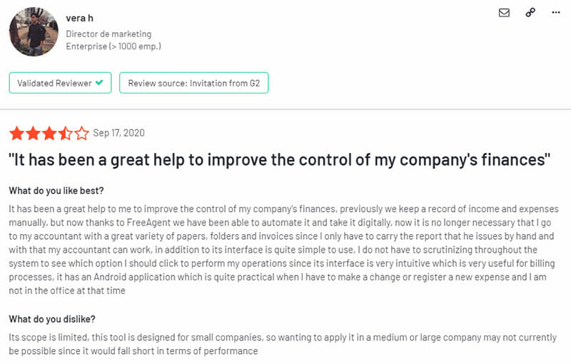 FreeAgent Customer Review