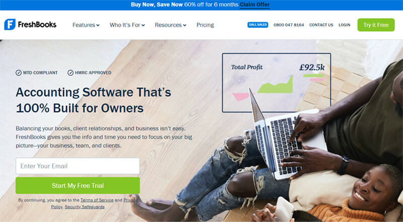 Freshbooks is the best accounting software for self employed, small and medium businesses