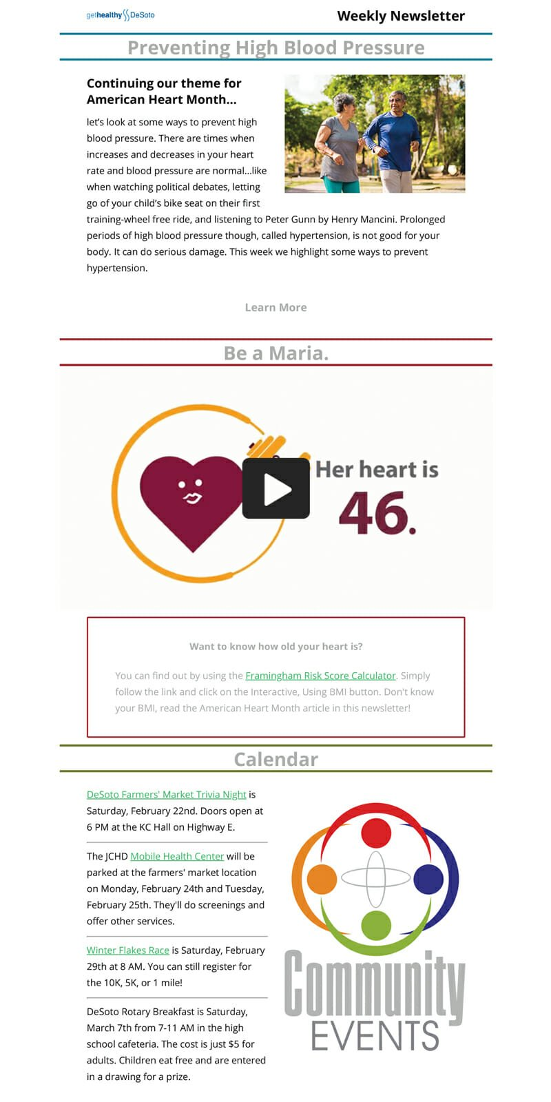 Get Healthy DeSoto Inc is a Newsletter Example For Health-based Non Profit Organisations