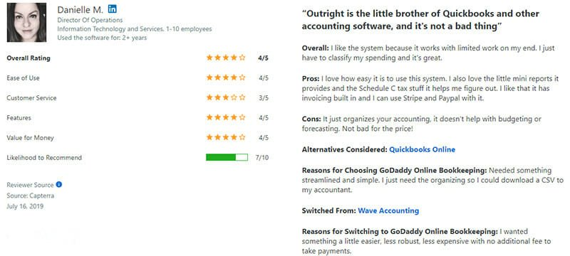 GoDaddy Online Bookkeeping Customer Review