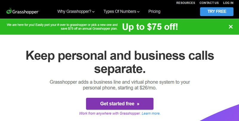 GrassHopper is the best business phone service for small businesses looking for call forwarding solutions