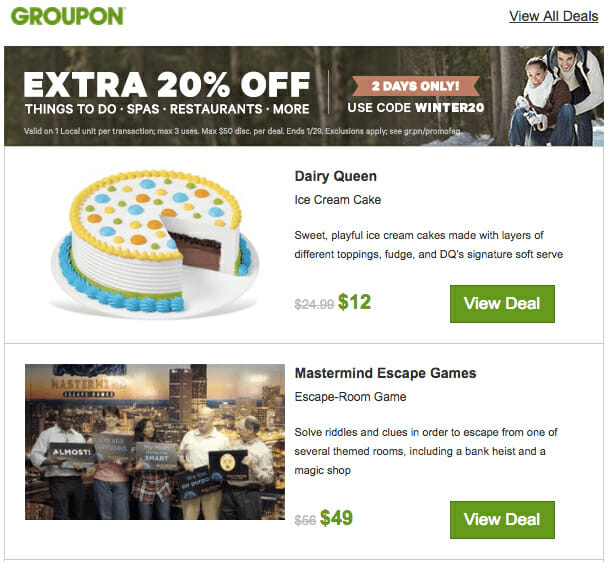 Groupon is an Email Newsletter Example For eCommerce Markets
