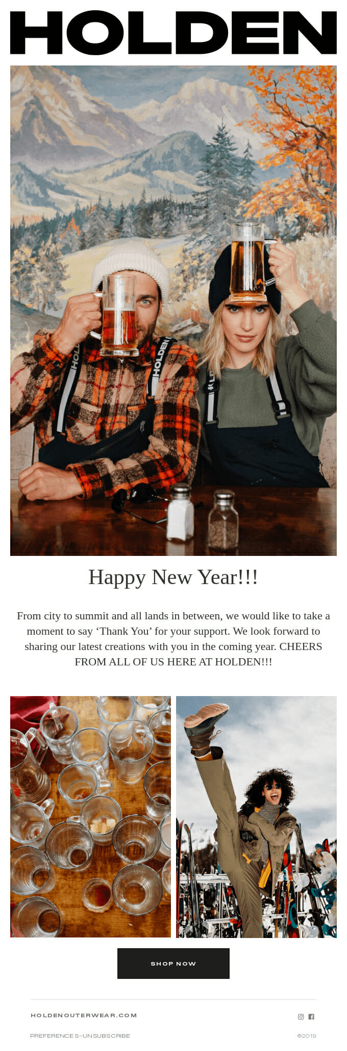 Holden Outerwear i s a newsletter Example for Fashion Lines and New Year