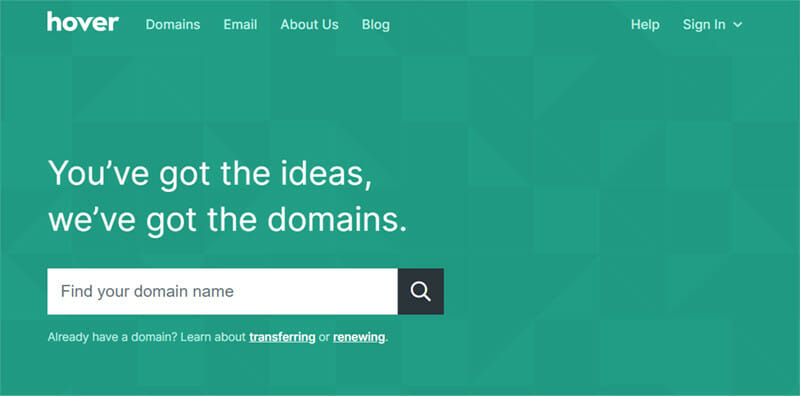 Hover is a Domain Registrar with Extensive Professional Email Management Services