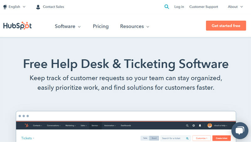 HubSpot Help Desk Software is a Call Center Software with the Ticketing System Feature