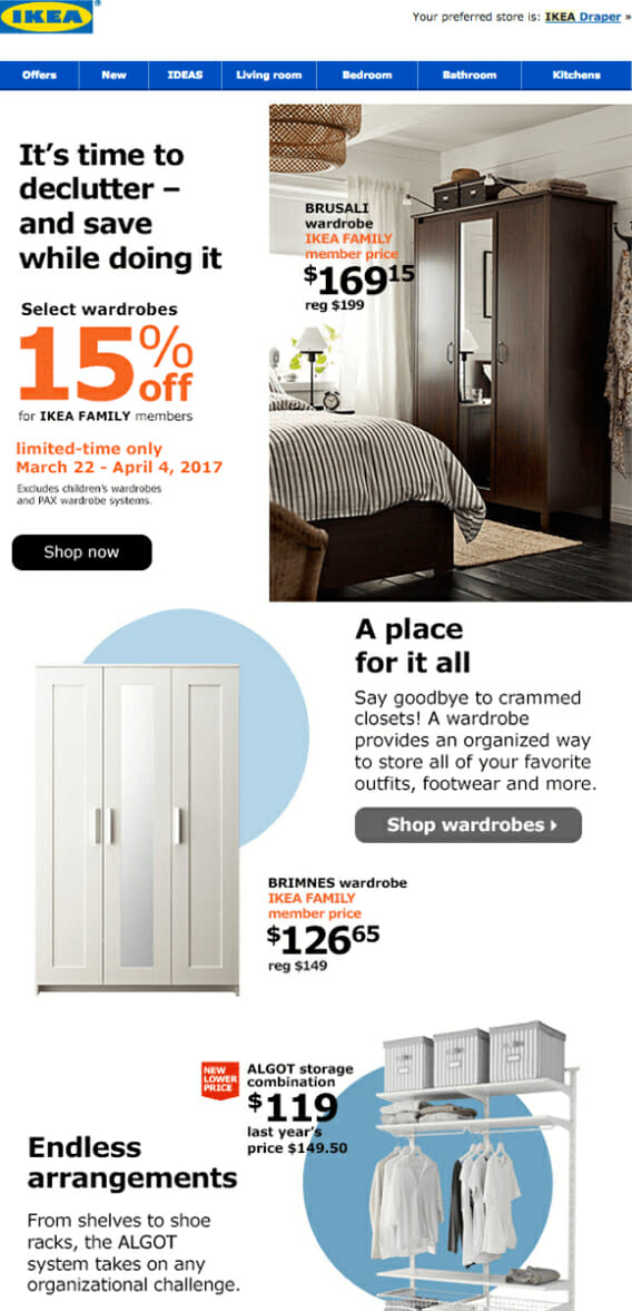 Ikea is an Email Discount Newsletter Example For Furniture Stores