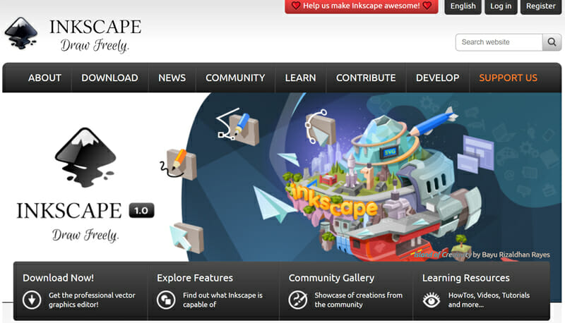 Inkscape is an open source image editing software that is free of charge and remains a good choice for beginners