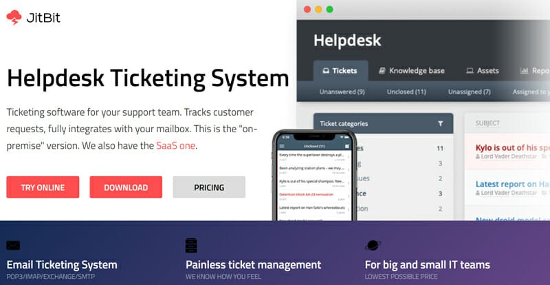 Jitbit is the best Multi IT Management System Ticketing Software for Medium to Large Businesses